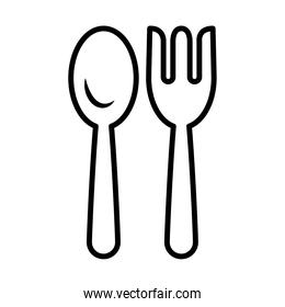 fork and spoon icon, line style