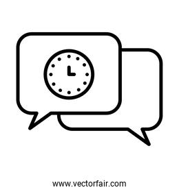 speech bubbles with clock icon, line style