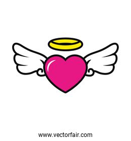 heart with wings and halo, colorful design