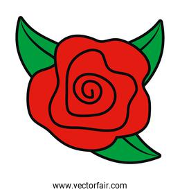 red rose with leaves icon, colorful design