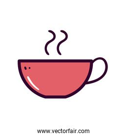 hot coffee cup line and fill style icon vector design