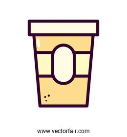 coffee mug with label line and fill style icon vector design
