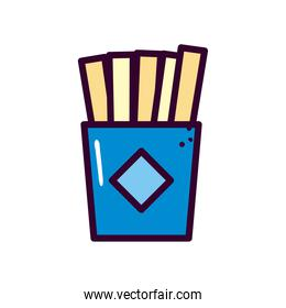 french fries line and fill style icon vector design