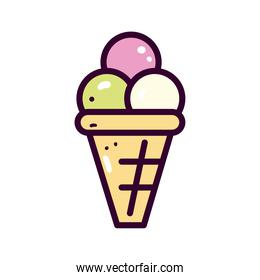 ice cream line and fill style icon vector design