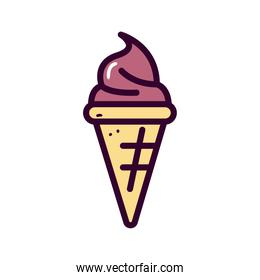 chocolate ice cream line and fill style icon vector design