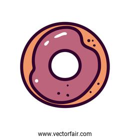 sweet donut line and fill style icon vector design