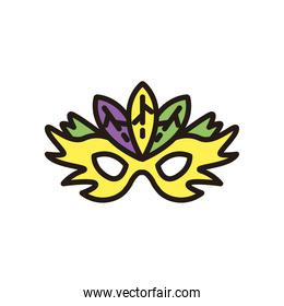 mardi gras yellow mask with feathers vector design