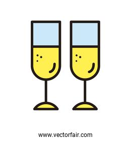 champagne cups icons vector design