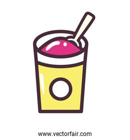 Ice cream bucket with spoon vector design