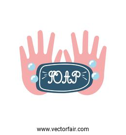 covid 19 virus sticker of soap with hands vector design