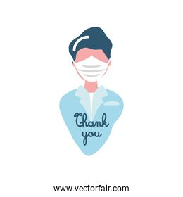 covid 19 virus sticker of thank you on doctor with mask vector design