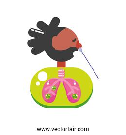 afro man with covid 19 virus in lungs and cotton swab test vector design