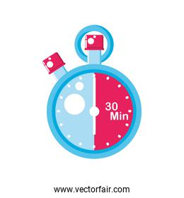 pink and blue chronometer instrument icon vector design