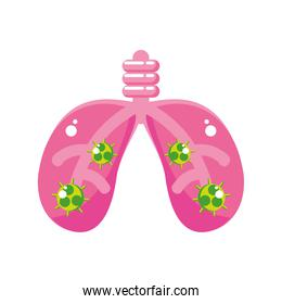 covid 19 virus in lungs vector design