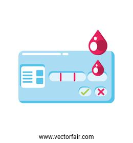 covid 19 virus positive test with blood drops vector design
