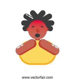 afro woman with covid 19 virus and dry cough vector design