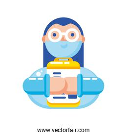 doctor with covid 19 virus protective suit and medical history vector design