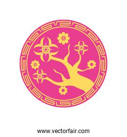 chinese tree with flowers on seal stamp vector design