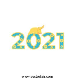 Chinese new year bull on 2021 number with flowers vector design