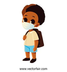 Back to school of afro boy kid with medical mask vector design