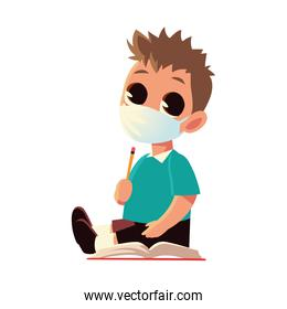 Back to school of boy kid with medical mask pencil and notebook vector design