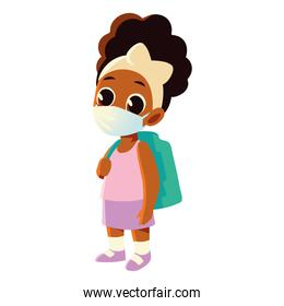 Back to school of afro girl kid with medical mask and bag vector design