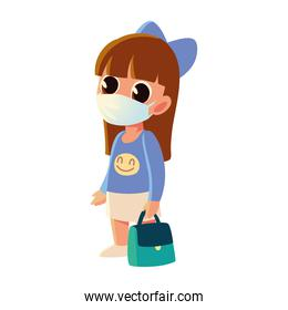 Back to school of girl kid with medical mask and purse vector design