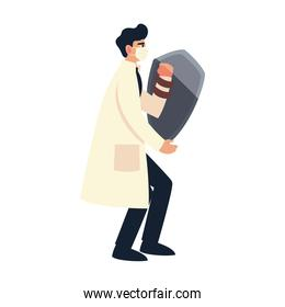 covid 19 virus protection and man doctor with mask and shield isolated vector design