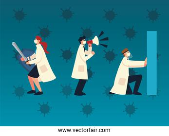 covid 19 virus protection and doctors with masks sword and megaphone vector design
