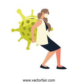 covid 19 virus protection woman with mask vector design