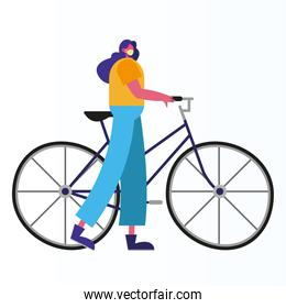 woman wearing medical mask riding bicycle activity