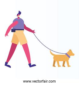 person wearing medical mask walking with dog activity