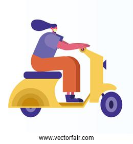 woman wearing medical mask in scooter activity