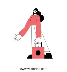 tourist female person character on vacation with paper bag