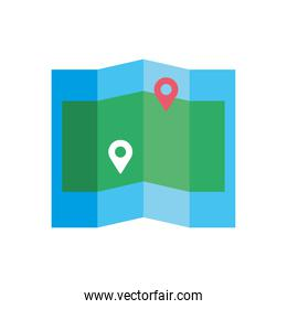 paper map with pin location flat style design