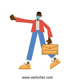 afro man wearing medical mask character with portfolio