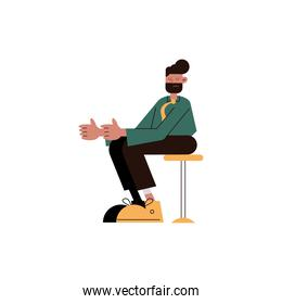 elegant businessman seated in chair comic character icon