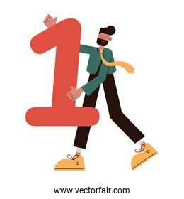 elegant businessman lifting number one comic character icon