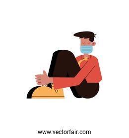 man wearing medical mask seated character