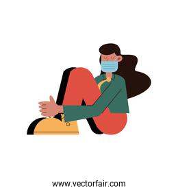 woman wearing medical mask seated character