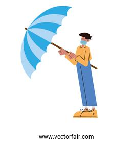 man wearing  mask with umbrella