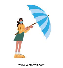 woman wearing medical mask with umbrella character