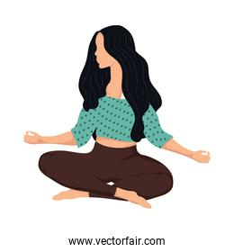 young woman practicing yoga activity character