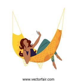 afro young woman taking a selfie in a hammock character