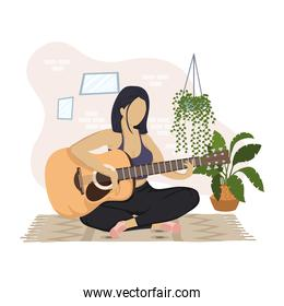 young woman playing guitar character in the house