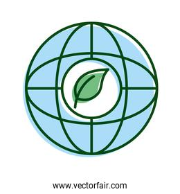 leaf plant in sphere planet ecology line and fill icon