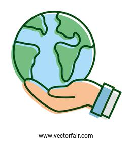 hand lifting world planet earth ecology line and fill icon