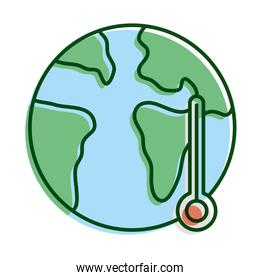 world planet earth with thermometer ecology line and fill icon