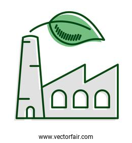 factory plant with leaf ecology line and fill icon