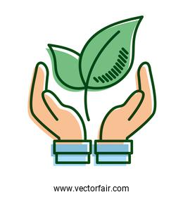 hands lifting leafs plant ecology line and fill icon